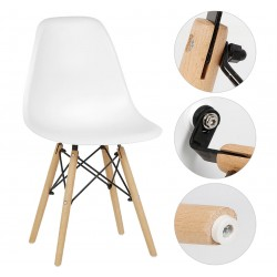 Трапезен стол с дървени крака Бял