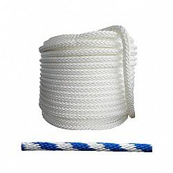 Въже РР плетено бяло/синьо 4мм опън 300кг натиск 38кг 16 жично UV и влагозащитено непотъващо