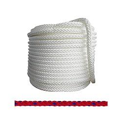 Въже РР плетено червено/синьо 6мм опън 480кг натиск 60кг 8 жично UV и влагозащитено непотъващо