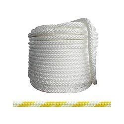 Въже РР плетено бяло/жълто 3мм опън 150кг натиск 19кг 16 жично UV и влагозащитено непотъващо