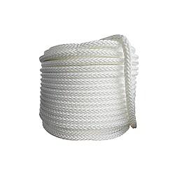 Въже полиестер плетено бяло 6мм опън 600кг 16-жилно