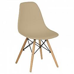 Трапезен стол с дървени крака Бежов