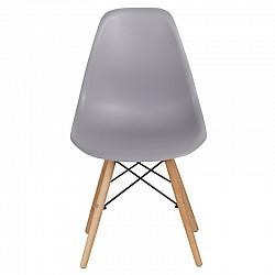 Трапезен стол с дървени крака Сив